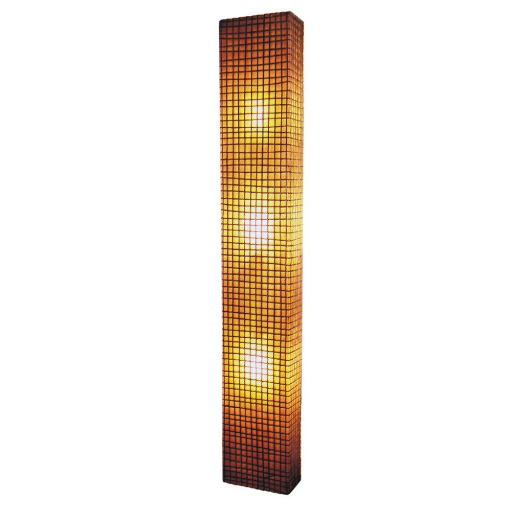 Jeffan Modern 3-Light Amber Wall Sconce with Natural Rattan Accent in Square Pattern