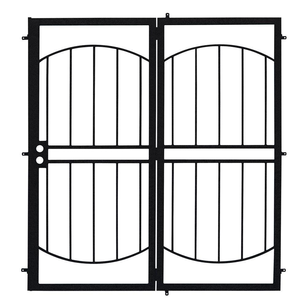 Unique Home Designs 72 in. x 80 in. Arcada Black Projection Mount Outswing Steel Patio Security Door with No Screen
