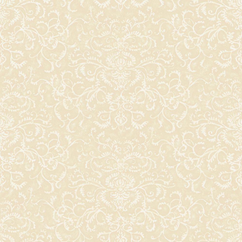 The Wallpaper Company 56 sq. ft. Beige Damask Watercolor Wallpaper
