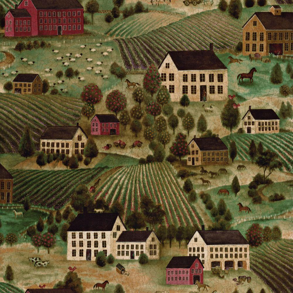 The Wallpaper Company 56 sq. ft. Green Folk Country Scenic Wallpaper