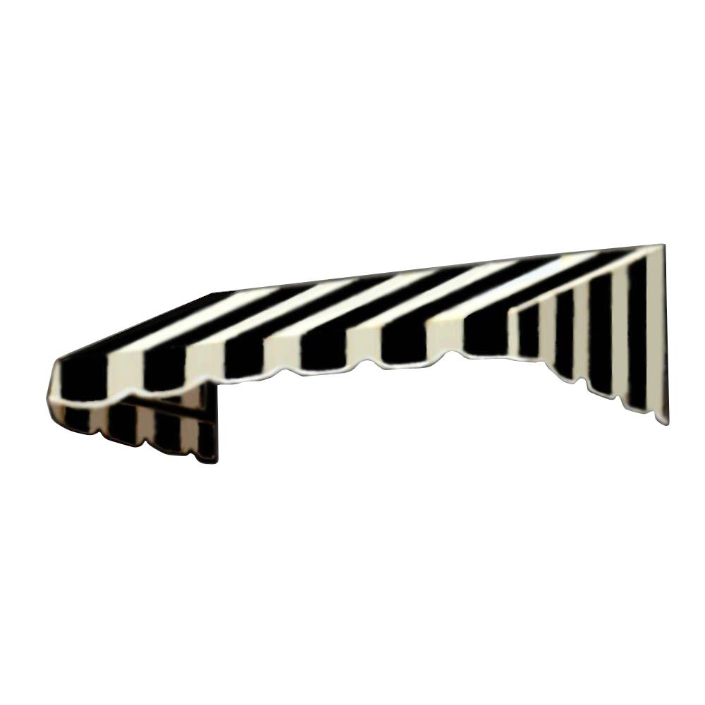 AWNTECH 4 ft. San Francisco Window Awning (31 in. H x 24 in. D) in Black/White Stripe