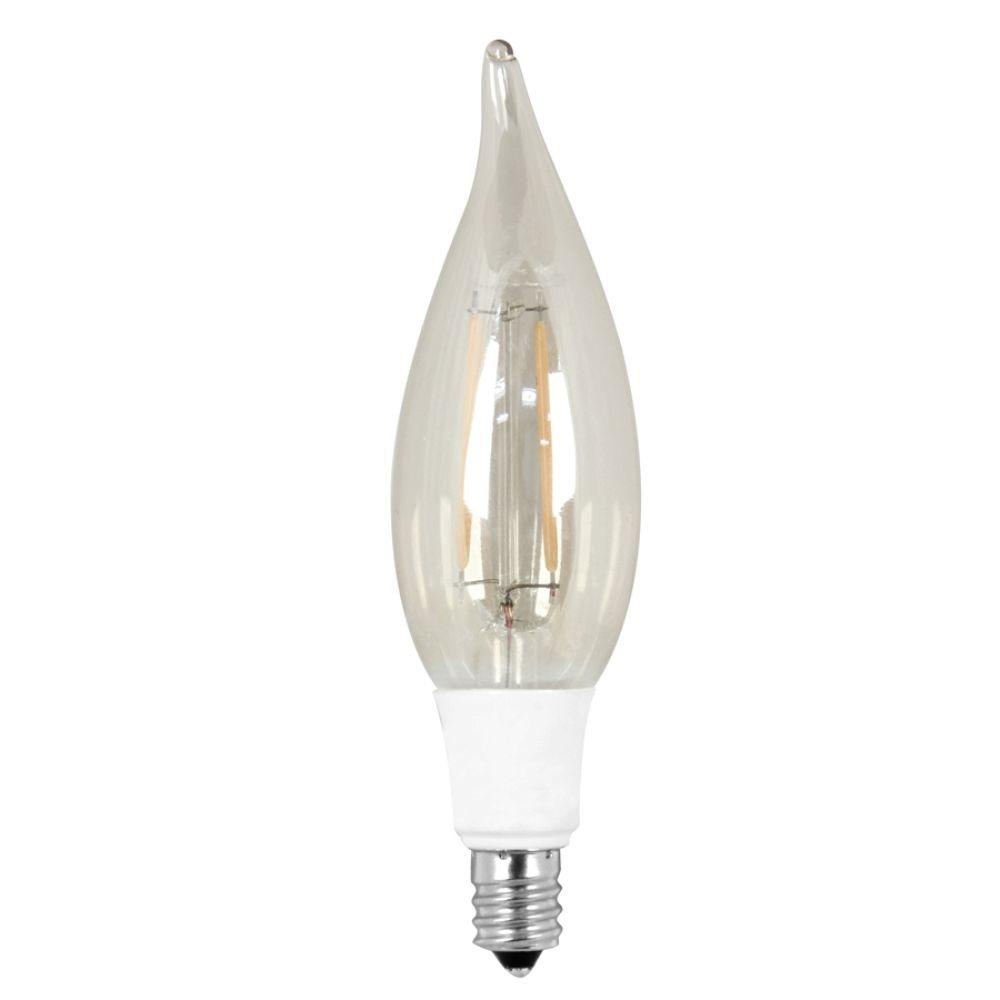 Vintage Style 40W Equivalent Soft White CA10 Candelabra Flame Tip Dimmable