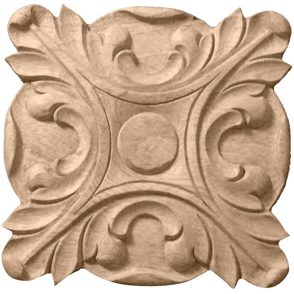 Ekena Millwork 5/8 in. x 4-1/4 in. x 4-1/4 in. Unfinished Wood Cherry Acanthus Rosette