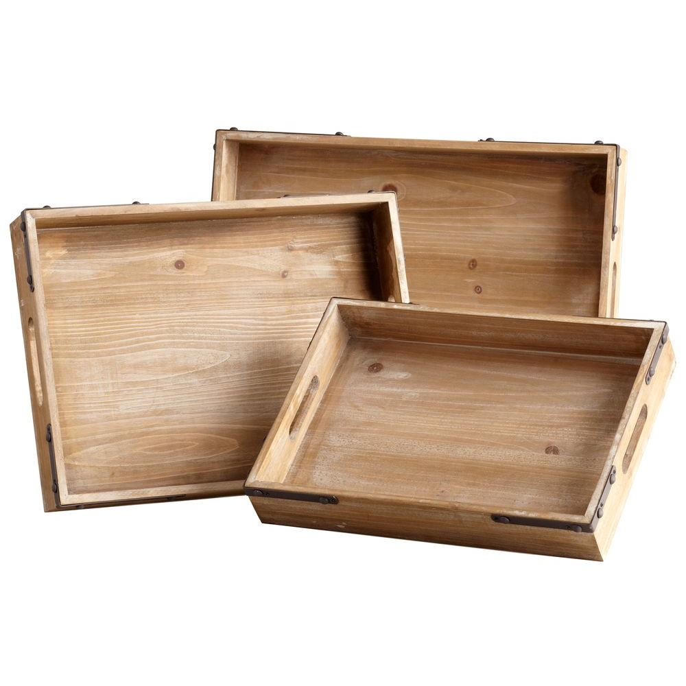Filament Design Prospect 2.5 in. x 19.75 in. Iron and Wood Tray (Set of 3)