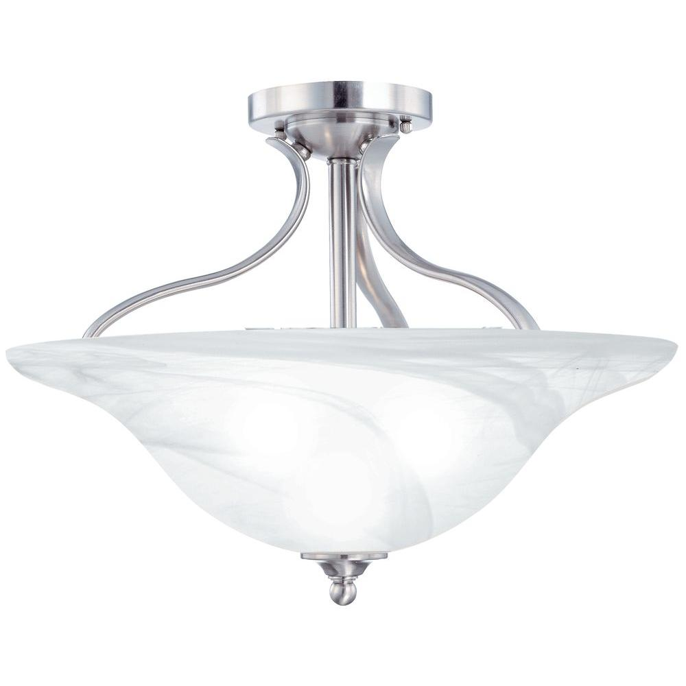 Thomas Lighting Prestige 3-Light Semi-Flush Brushed Nickel Ceiling Fixture-DISCONTINUED
