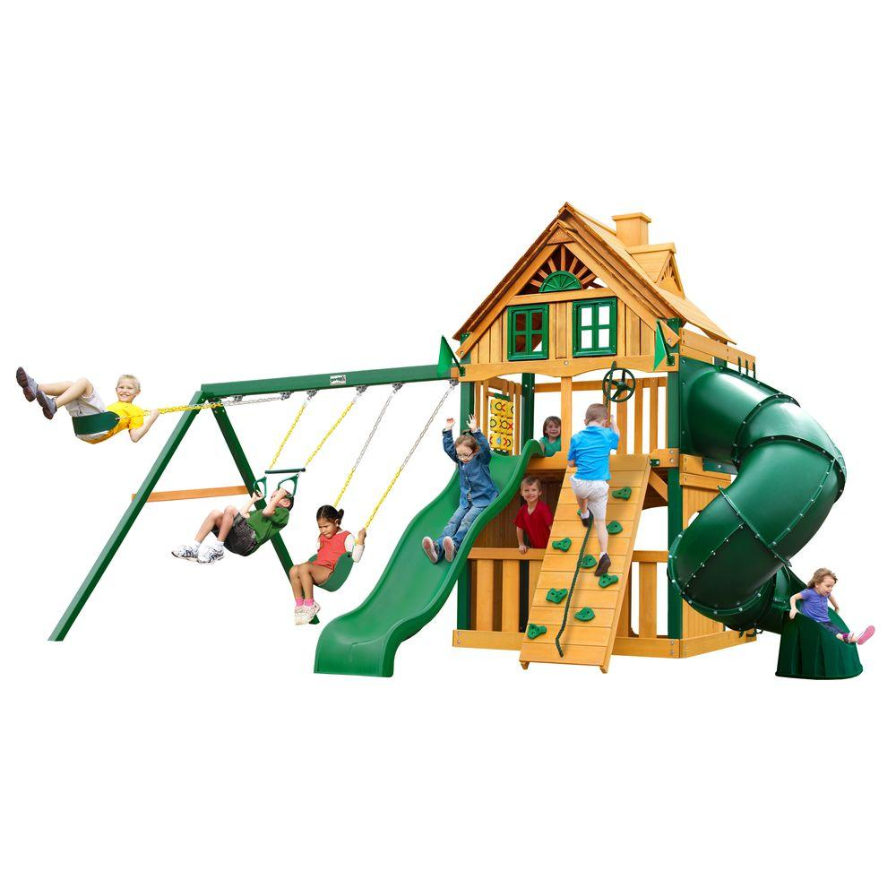 Gorilla Playsets Mountaineer Clubhouse Treehouse Swing Set with Timber Shield, Browns/Tans