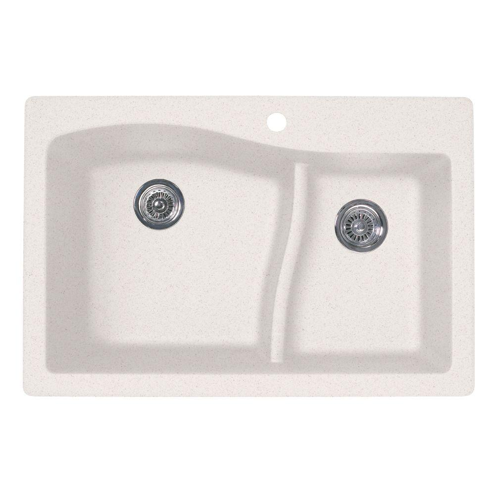Swan Large/Small Dual Mount Drop-In Granite 33 in. 1-Hole Double Bowl