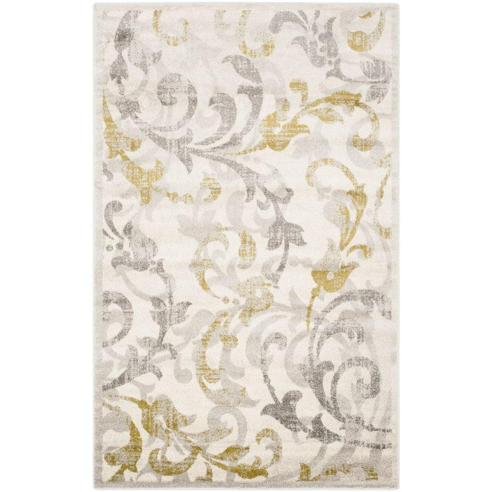 Amherst Ivory/Light Gray 4 ft. x 6 ft. Indoor/Outdoor Area Rug
