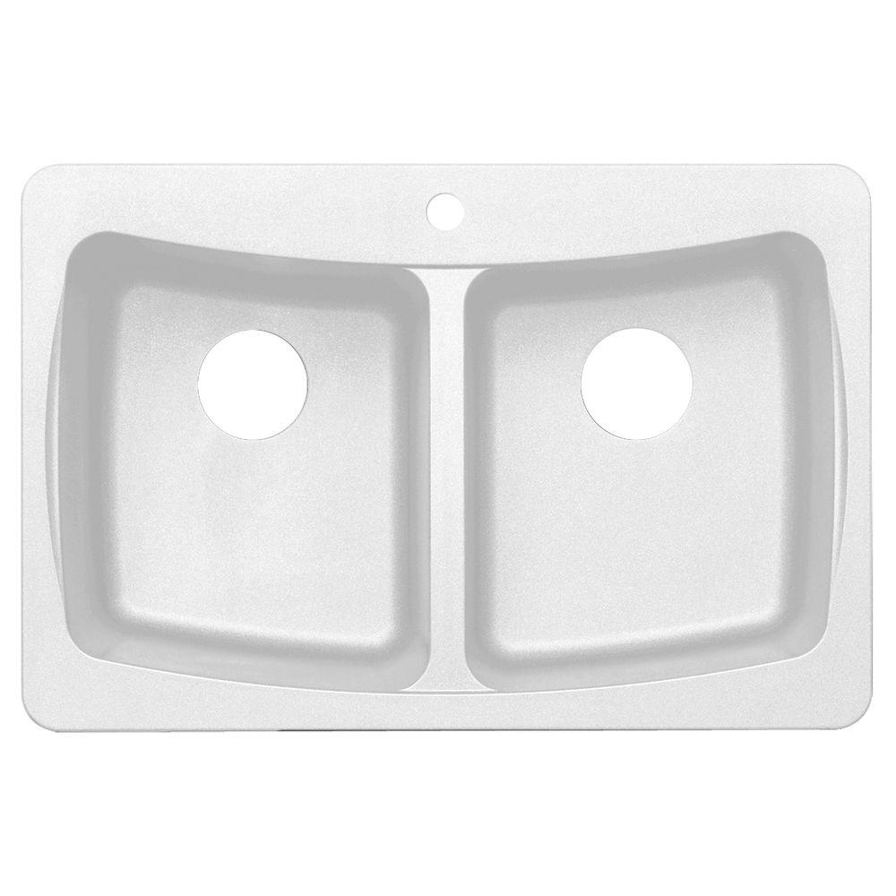 null Dual Mount Granite 33 in. 3-Hole Double Bowl Kitchen Sink in White