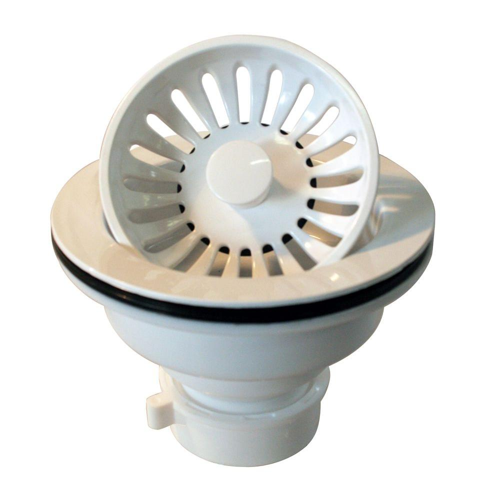 3-1/4 in. Push/Pull Basket Strainer in White