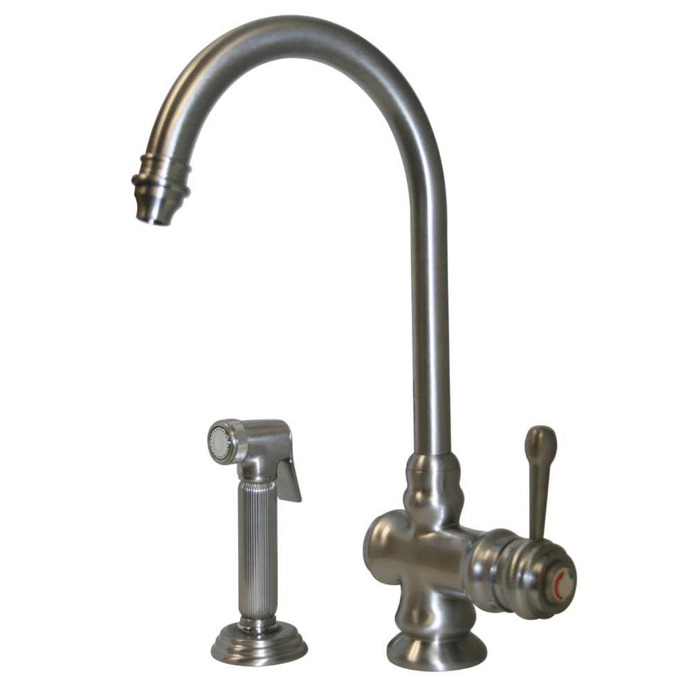 Whitehaus Collection Single-Handle Side Sprayer Kitchen Faucet in Titanium