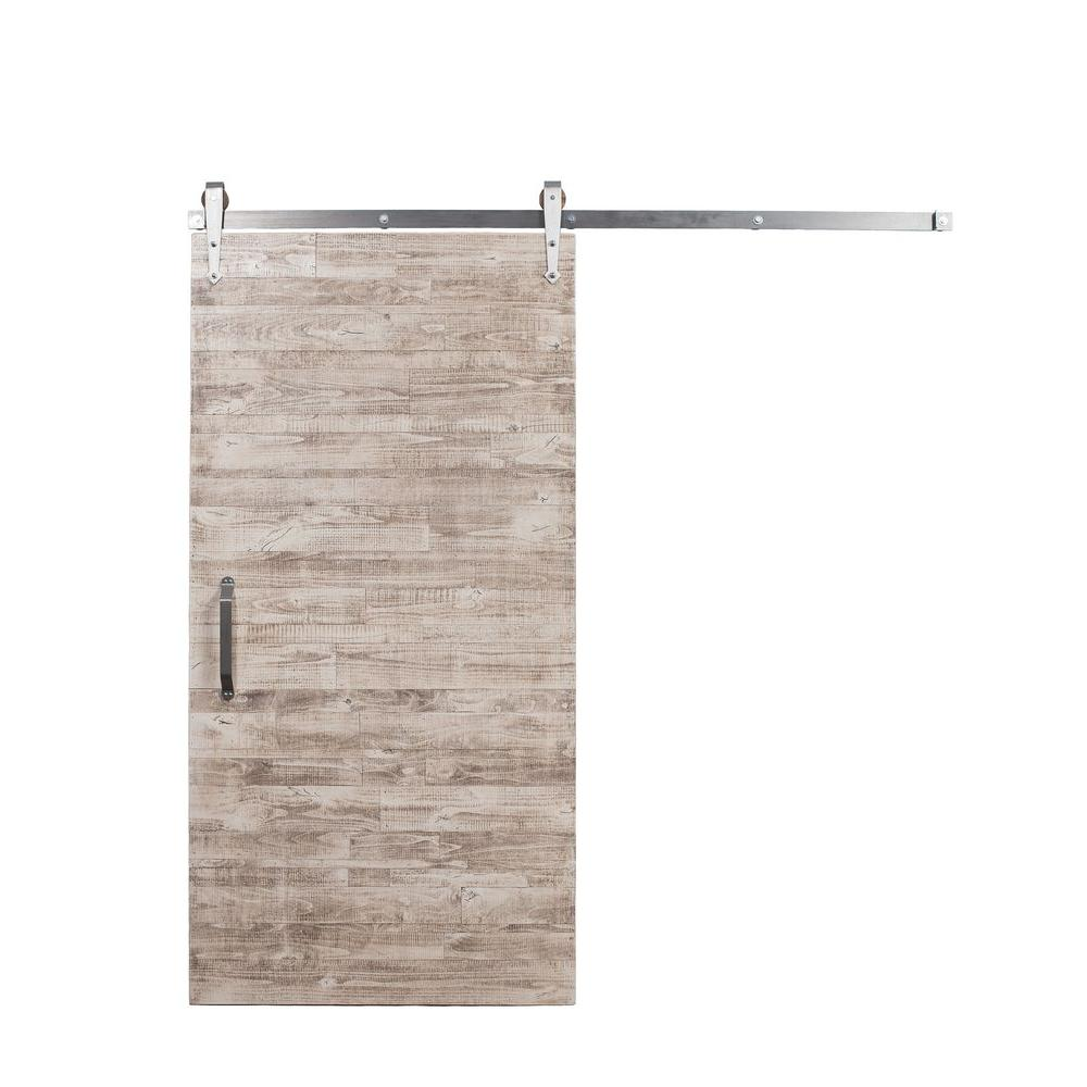 Rustica hardware 42 in x 84 in rustica reclaimed white wash wood barn door with arrow sliding - Barn door track hardware home depot ...