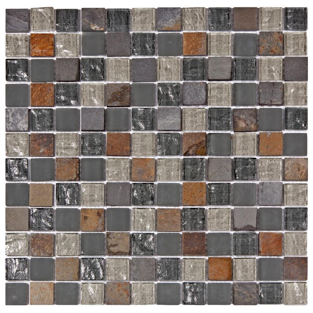 Merola Tile Tessera Square Wisp 11-5/8 in. x 11-5/8 in. x 8 mm Glass and Stone Mosaic Tile, Multicolored Grey/Mixed Finish