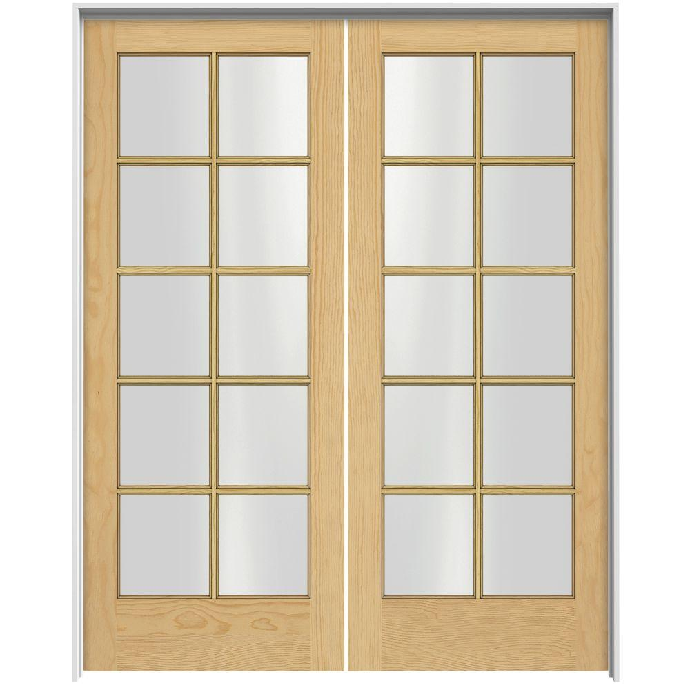 JELD-WEN Woodgrain 10-Lite Unfinished Pine Prehung Interior French Double Door with Primed Jamb-DISCONTINUED