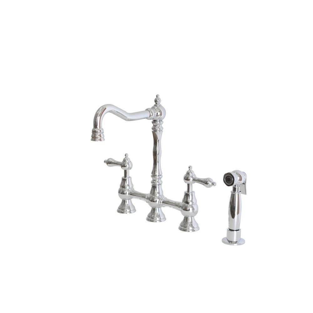 N vZccuz faucets kitchen 2 Handle Bridge Kitchen Faucet with Side Sprayer and Metal Lever Handles in Chrome