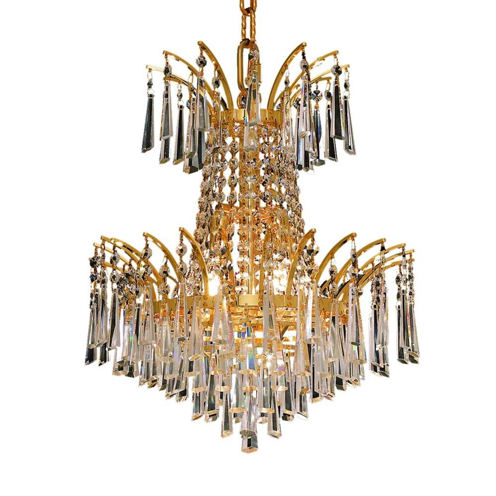 4-Light Gold Chandelier with Clear Crystal