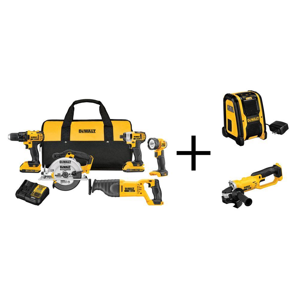 20-Volt MAX Lithium-Ion Cordless Combo Kit (5-Tool) with Bonus Cut-Off Tool