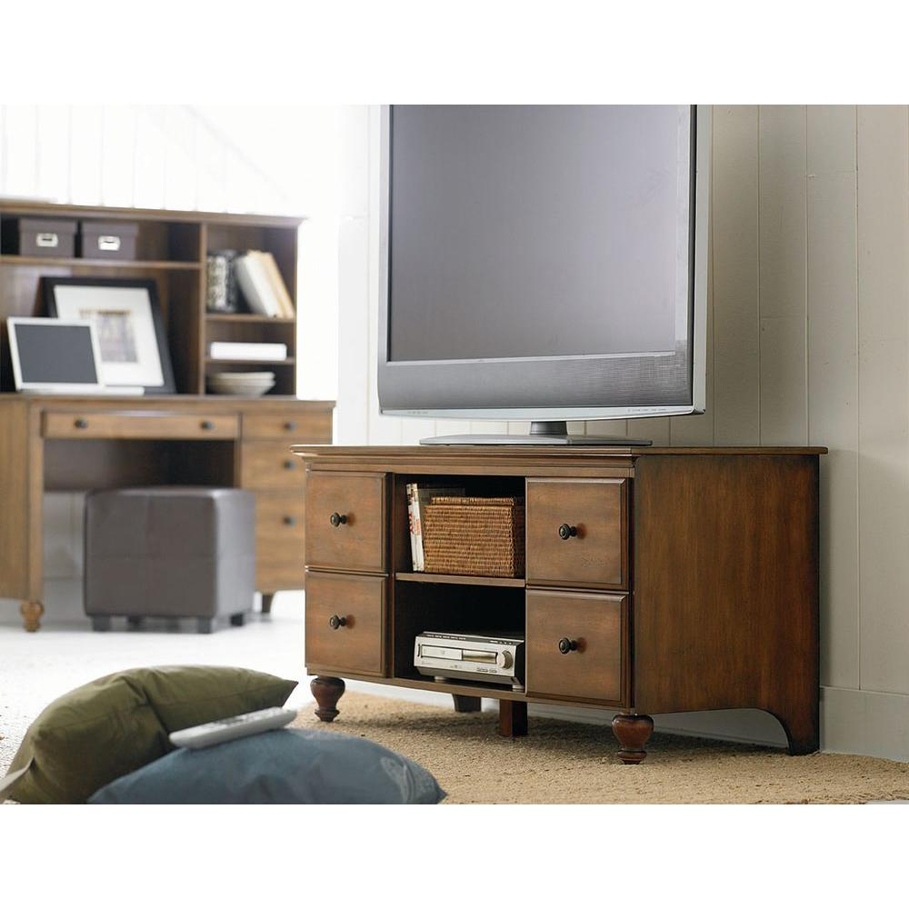 Renovations by Thomasville 4-Shelf Engineered Wood TV Stand Console in Chestnut