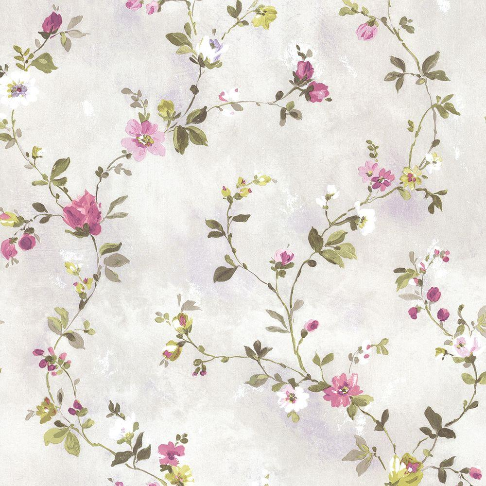 Sarafina Magenta Floral Scroll Wallpaper