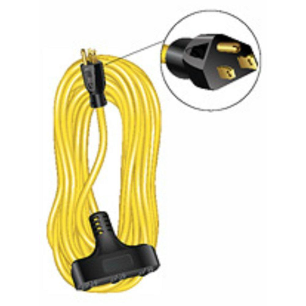 null 50 ft. 12/3 Outdoor Extension Cord SJTW Triple Tap - Yellow