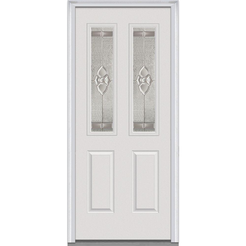 34 in. x 80 in. Master Nouveau Decorative Glass 2 Lite 2-Panel Primed White Steel Prehung Front Door
