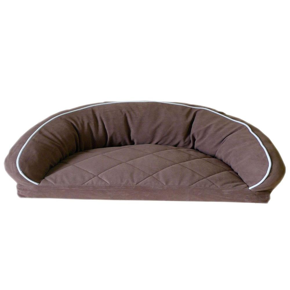 Large Microfiber Semi Circle Lounge Dog Bed - Chocolate with Linen