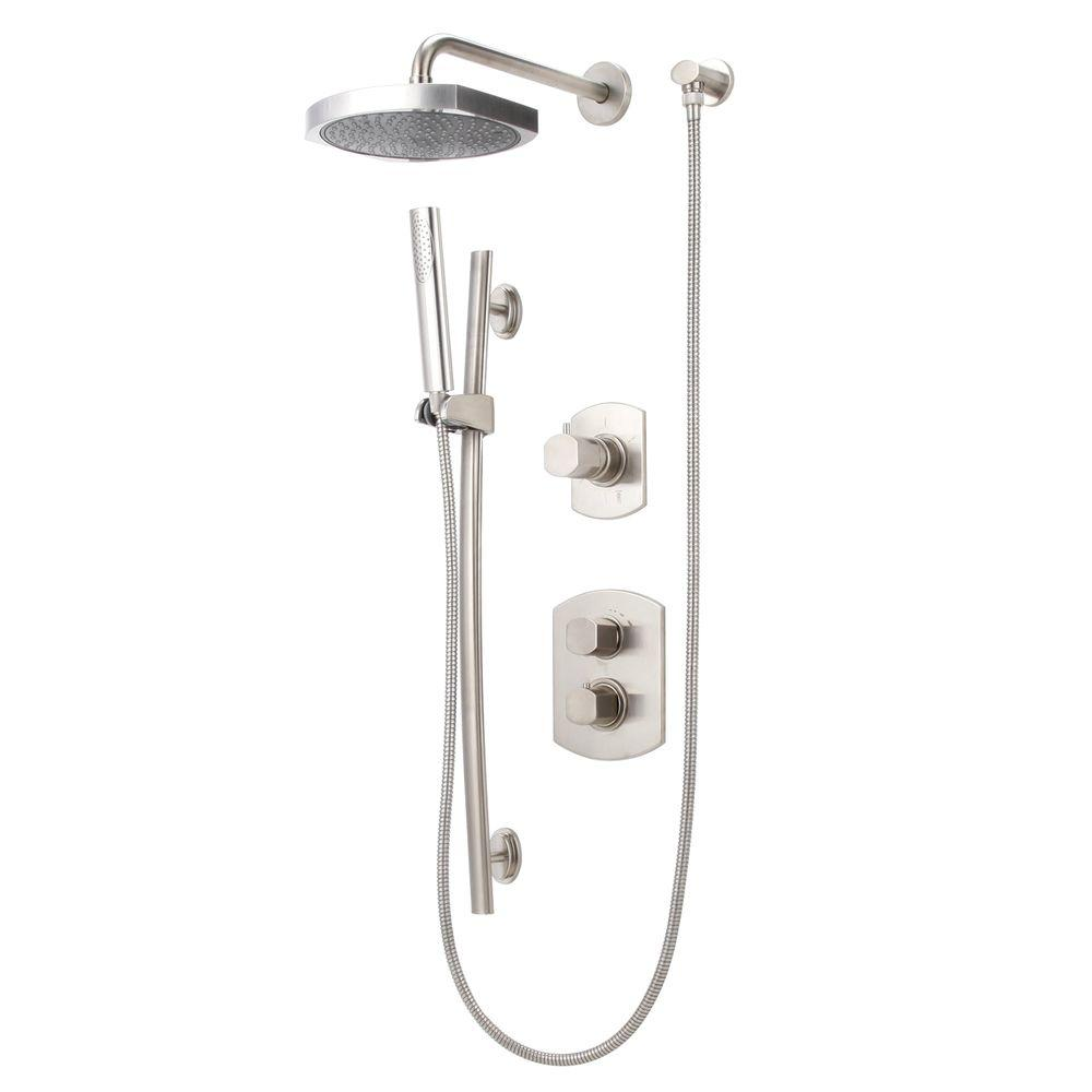 LaToscana Novello Combination 1-Spray Hand Shower and Shower Head Combo Kit in Brushed Nickel