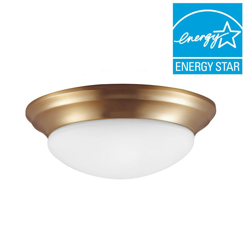 Sea Gull Lighting Nash 3-Light Satin Bronze Fluorescent Flushmount with Satin Etched Glass