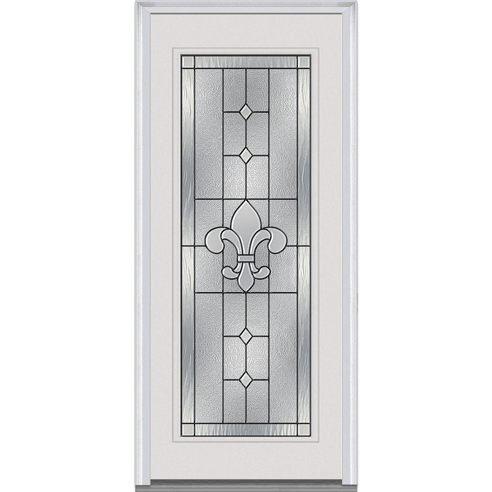 33.5 in. x 81.75 in. Carrollton Decorative Glass Full Lite Painted