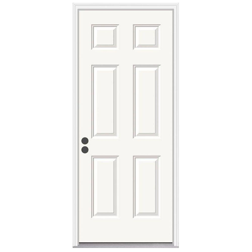 JELD-WEN 30 in. x 78 in. 6-Panel Primed Premium Steel Prehung