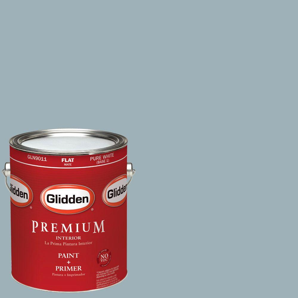 Glidden Premium 1-gal. #HDGCN32D Soft Traditional Blue Flat Latex Interior Paint with Primer