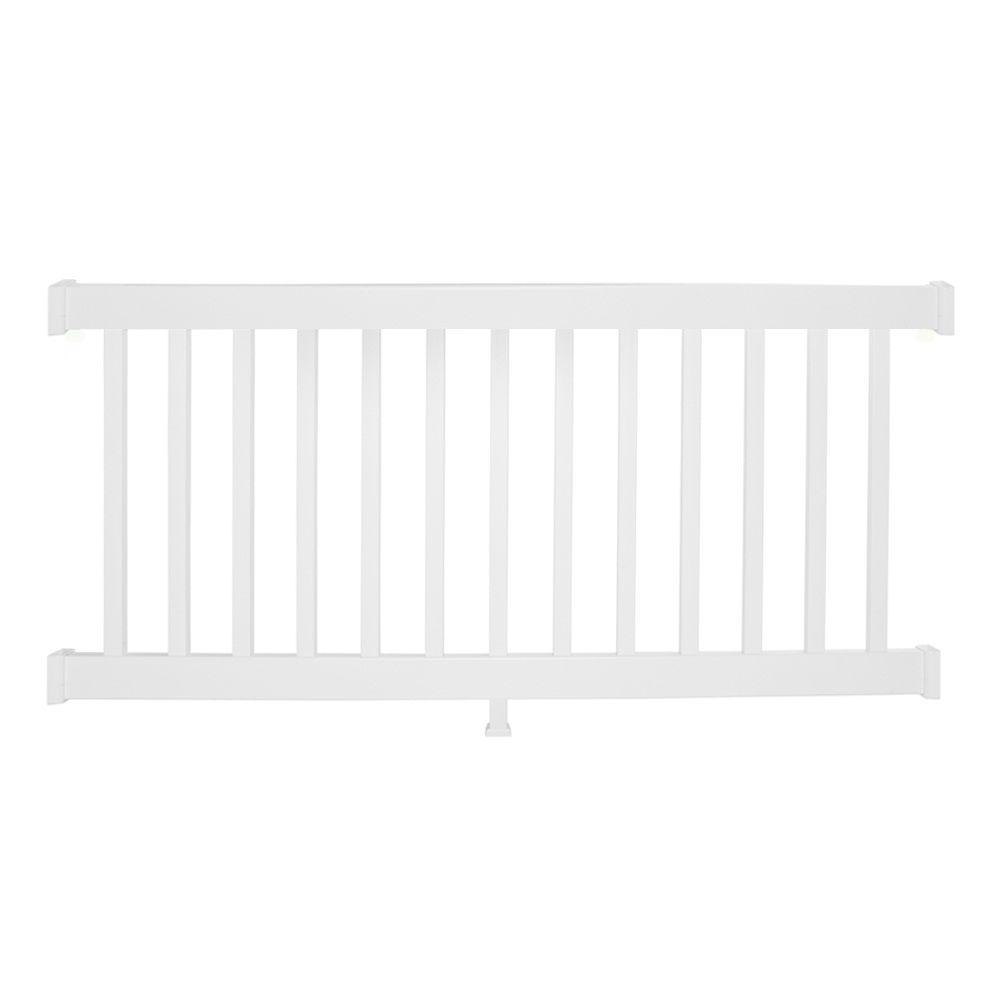 Weatherables Walton 36 in. x 72 in. Vinyl White Straight Rail