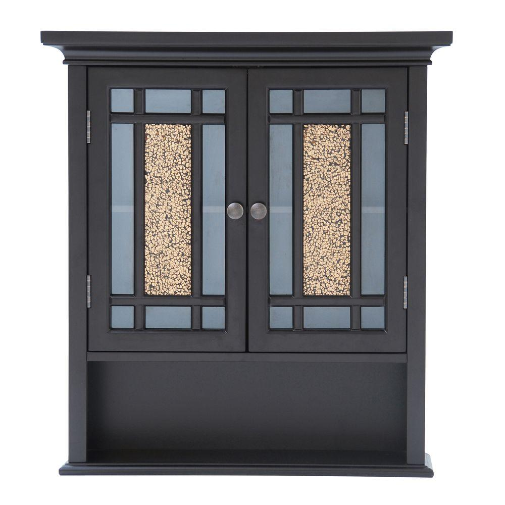 null Winfield 22 in. W x 24 in. H x 7 in. D Bathroom Storage Wall Cabinet with Mosaic Glass in Espresso
