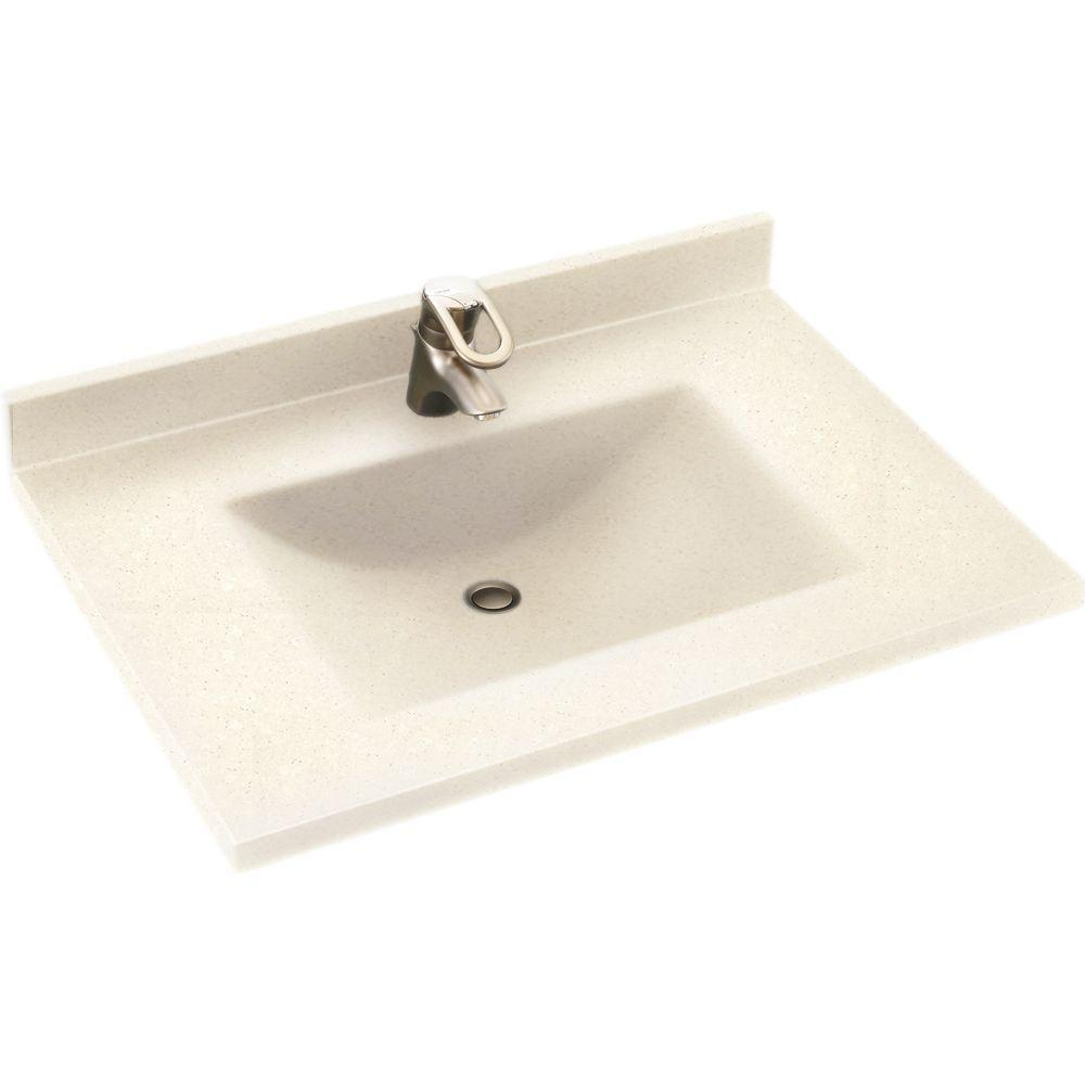 Swan Contour 31 in. W x 22 in. D x 10-1/4 in. H Solid-Surface Single Bowl Vanity Top in Pebble with Pebble Basin