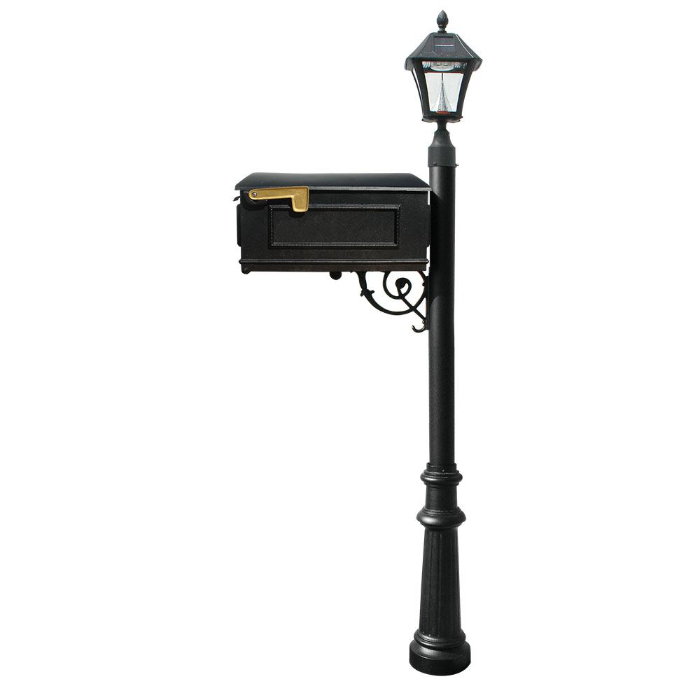 Lewiston Mailbox Collection with Bayview Solar Lamp and Decorative Fluted Base