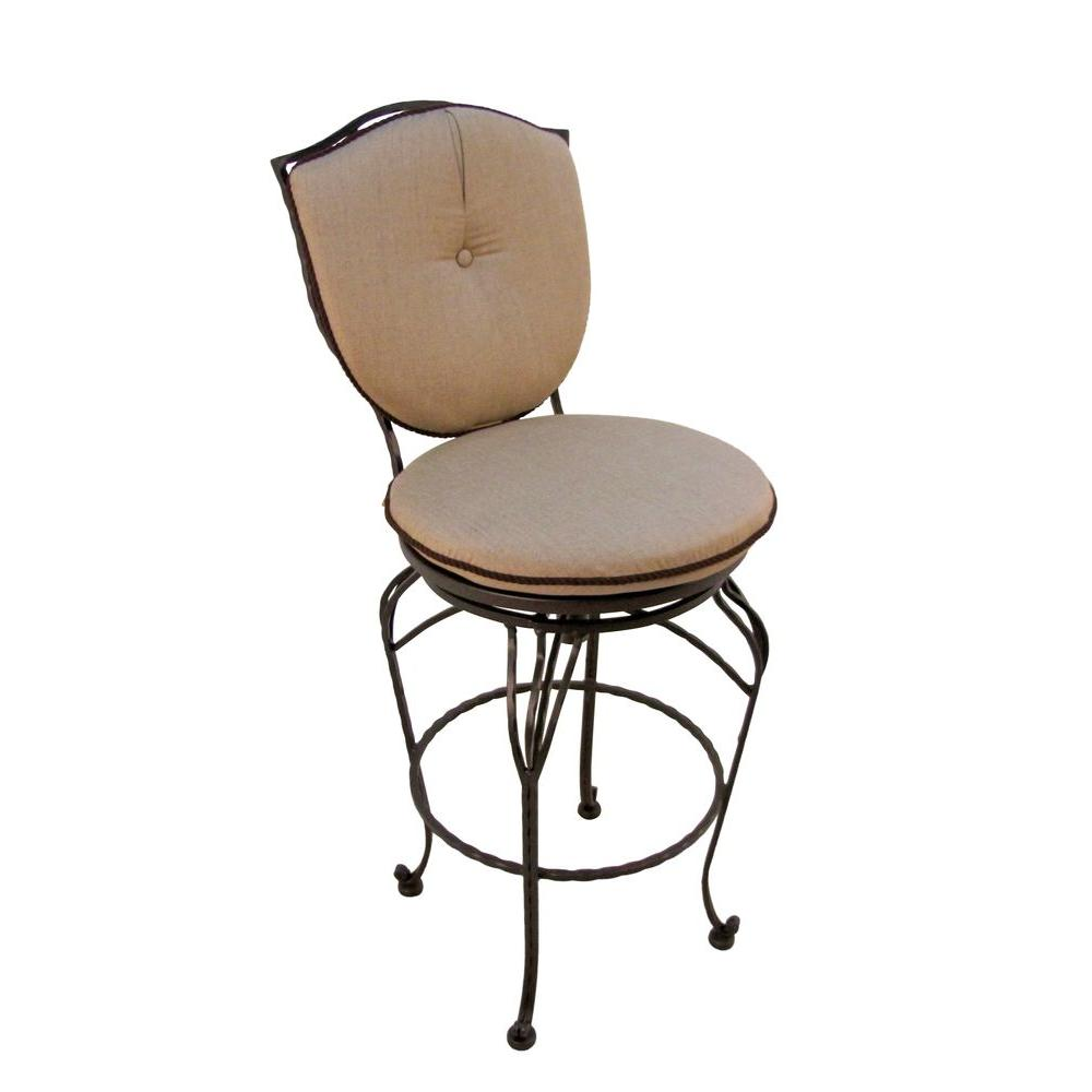 Geneva Chocolate Brown Swivel Patio Bar Chair with Beige Cushion