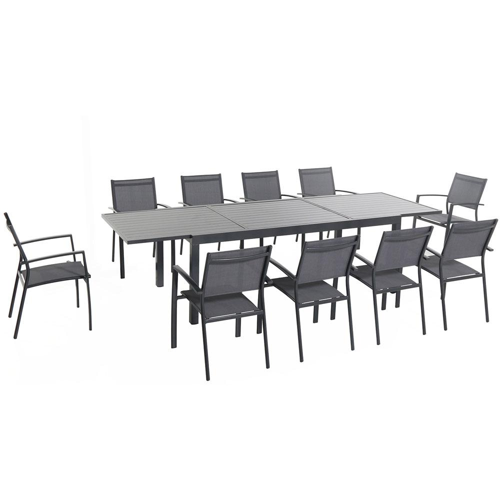 Hanover naples 11 piece rectangular patio dining set for 11 piece dining table set