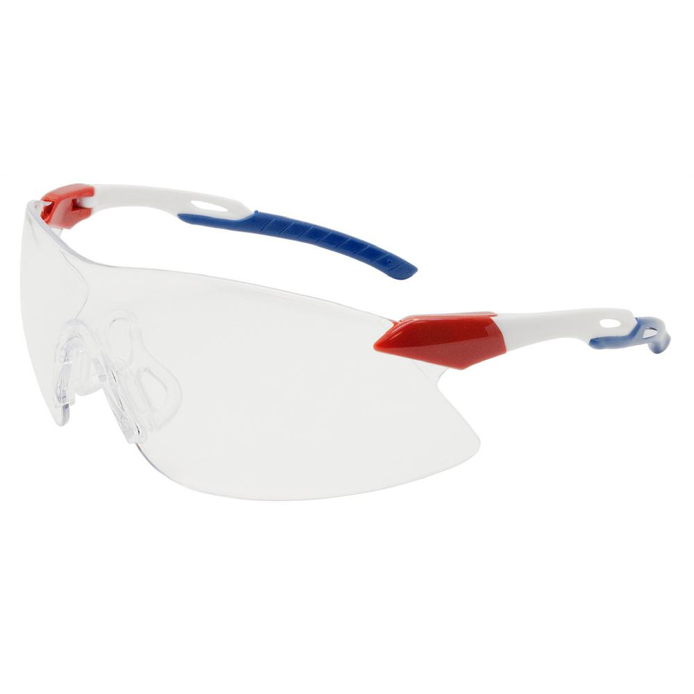 Strikers Eye Protection Red/White/Blue Temple and Clear Lens