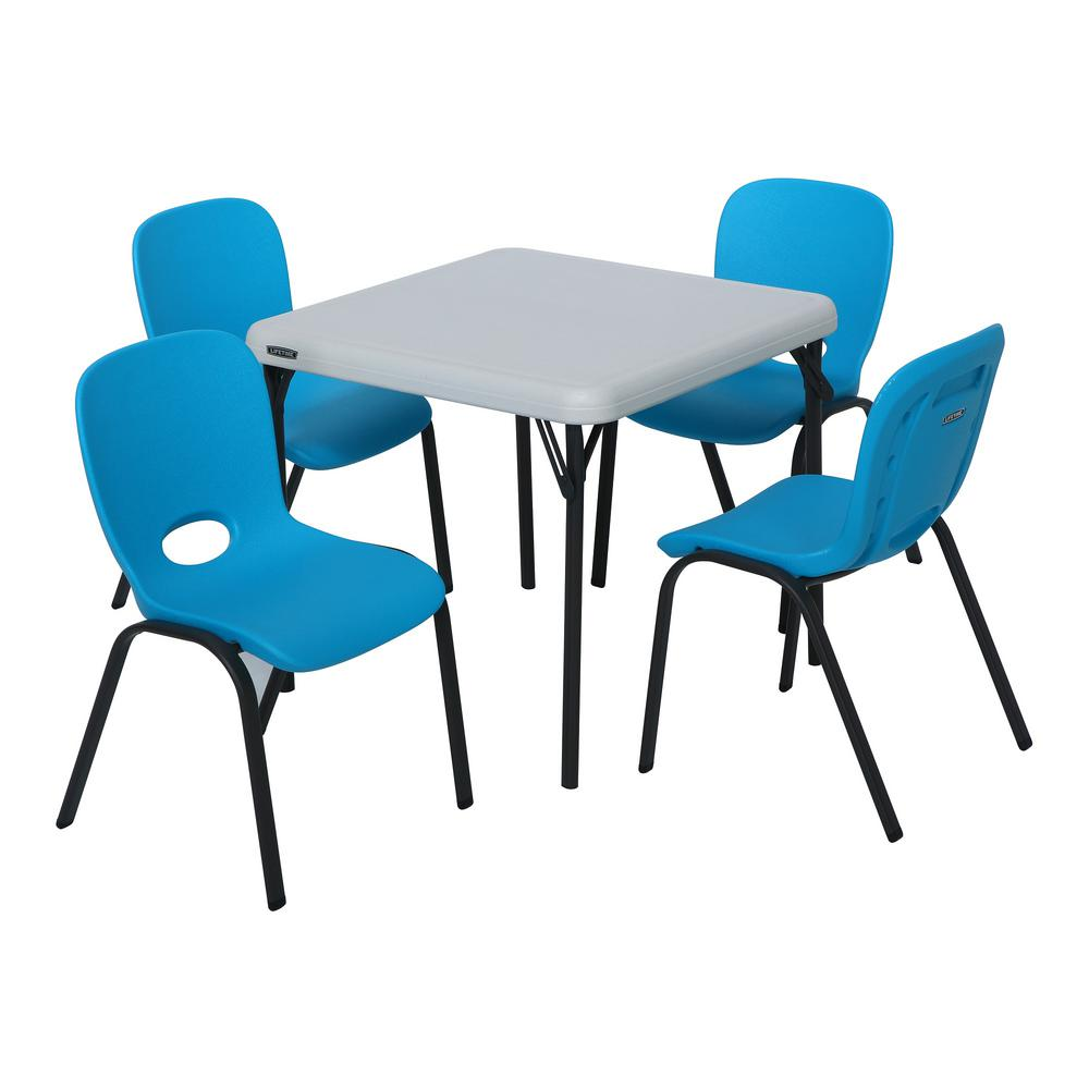 Lifetime 5 Piece Blue and Almond Children s Table and