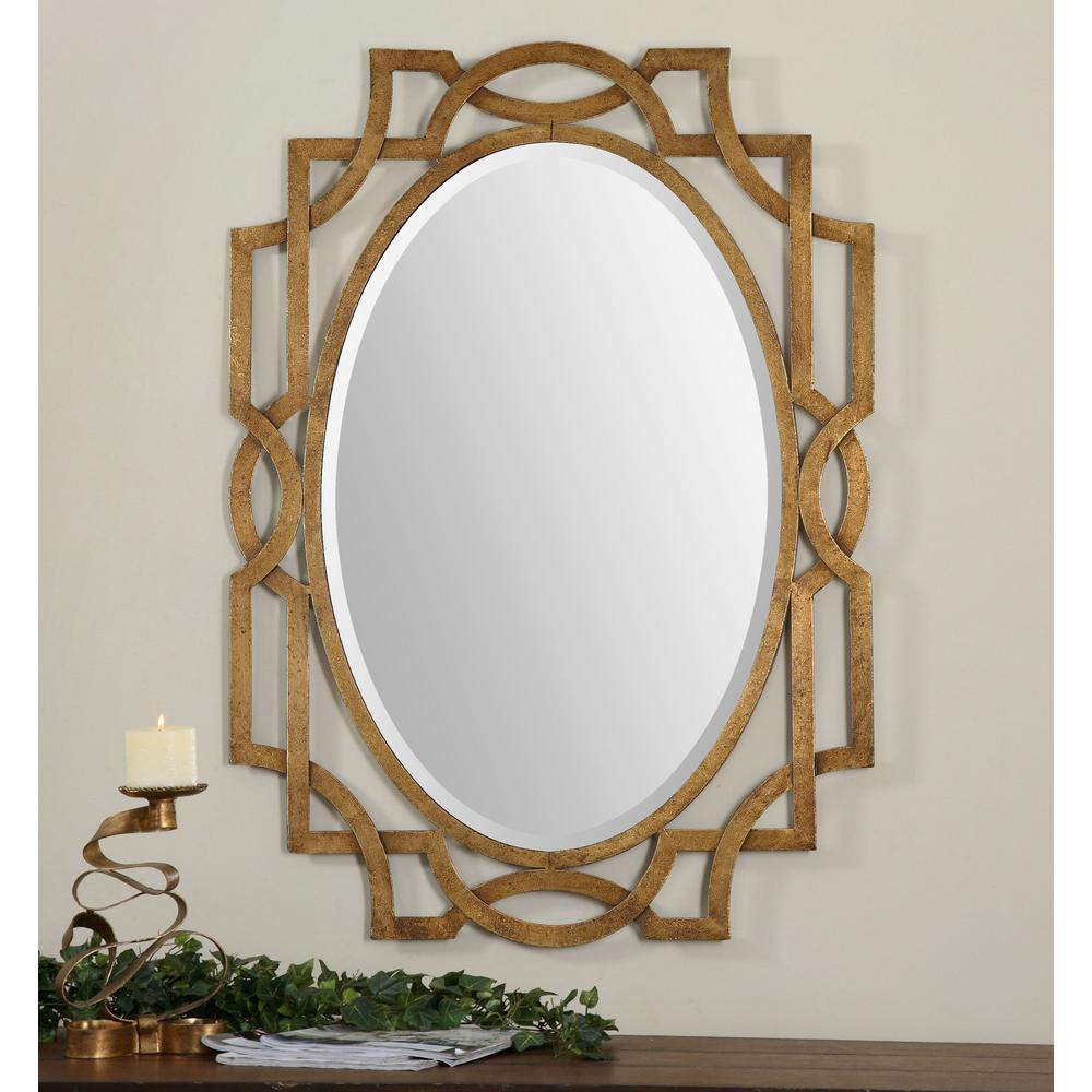 Global Direct 41 in. x 30 in. Gold Metal Framed Mirror-12869