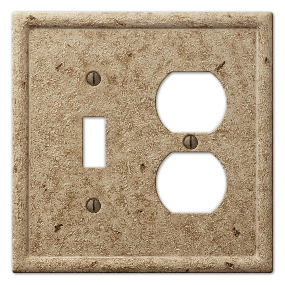 Creative Accents Stone 1 Toggle 1 Duplex Wall Plate - Noce-DISCONTINUED