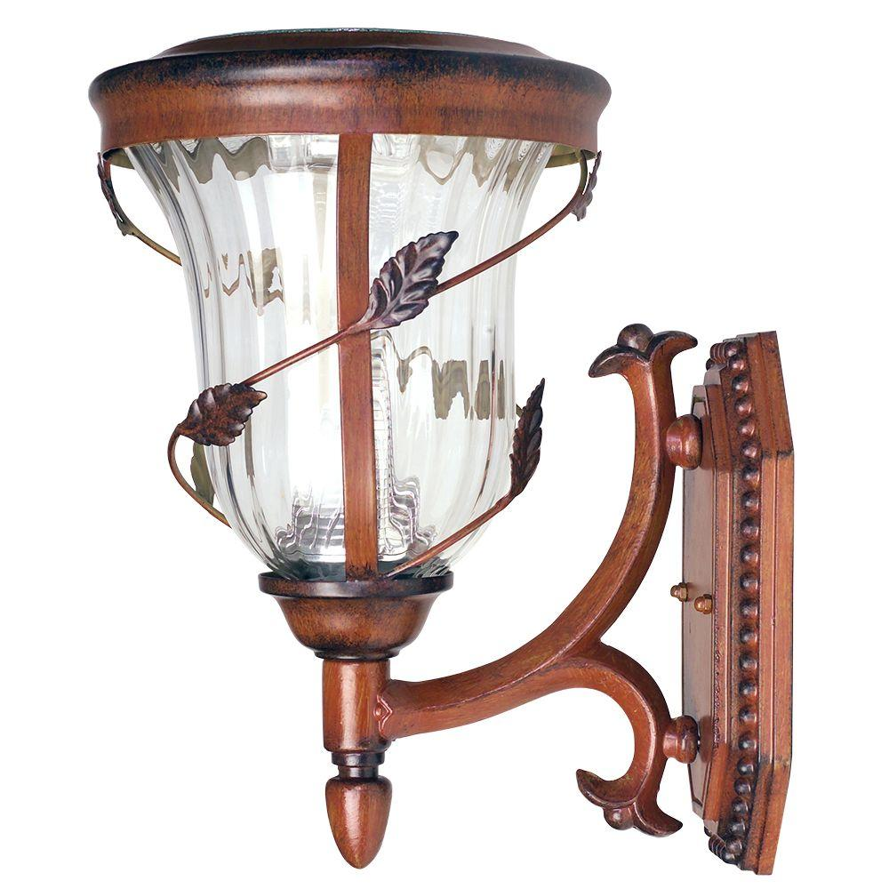 Gama Sonic Flora Solar Antique Bronze Outdoor Wall Lantern