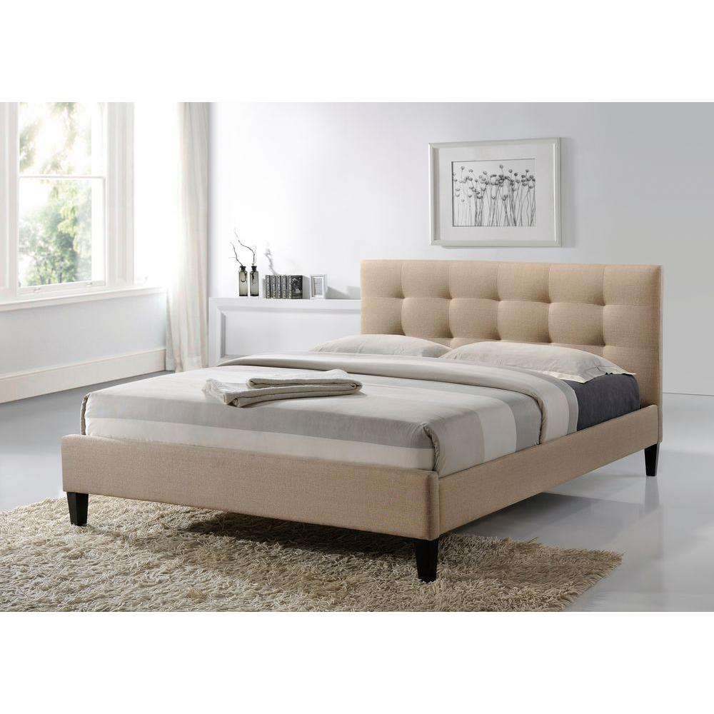 Hermosa Fabric Queen-Size Tufted Upholstered Platform Contemporary Bed in