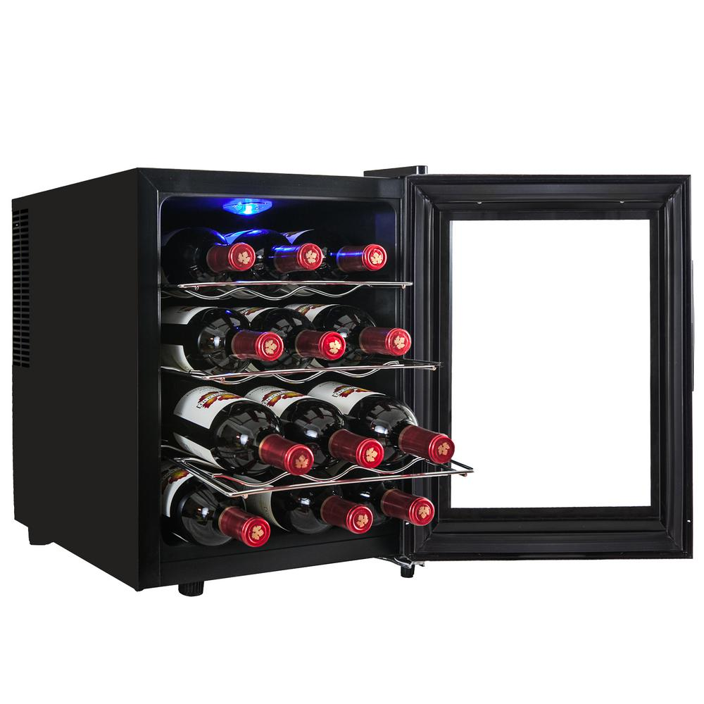 12-Bottle Single Zone Thermoelectric Wine Cooler in Black with Touch Control
