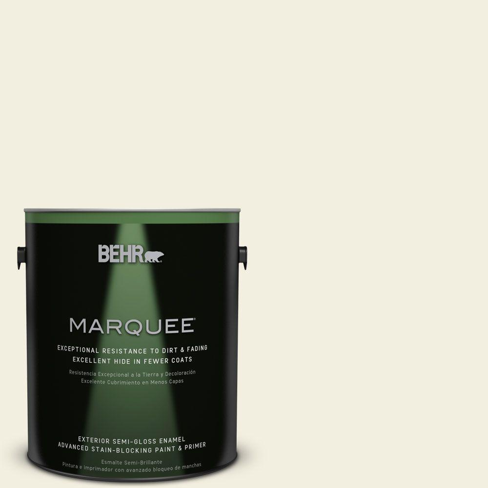 BEHR MARQUEE 1-gal. #GR-W1 White Wool Semi-Gloss Enamel Exterior Paint-545001 -