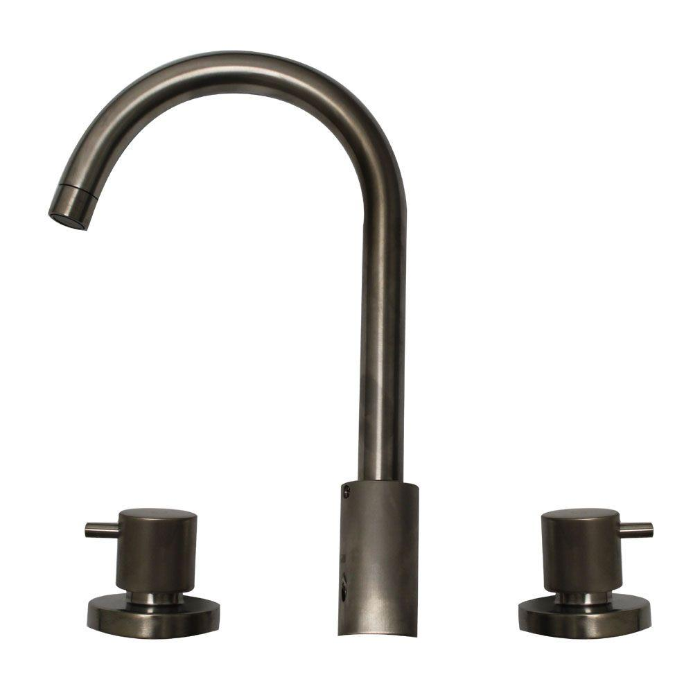 Whitehaus Collection Luxe 8 in. Widespread 2-Handle Bathroom Faucet in Brushed Nickel