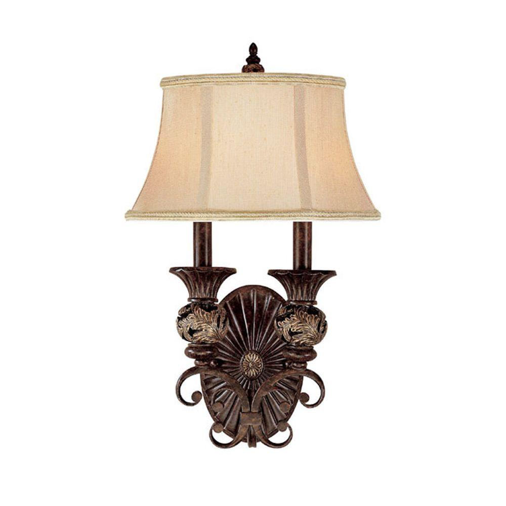 Filament Design 2-Light Chesterfield Brown Sconce-DISCONTINUED