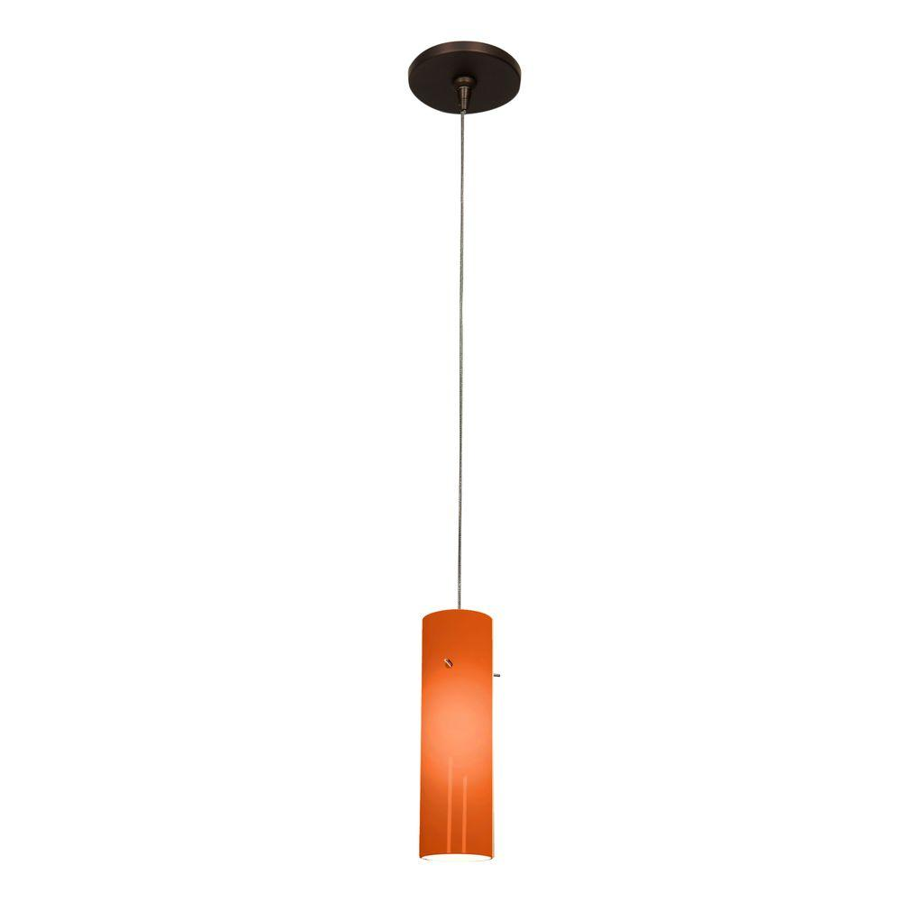 Access Lighting Zeta 1-Light Bronze Pendant with Amber Glass Shade