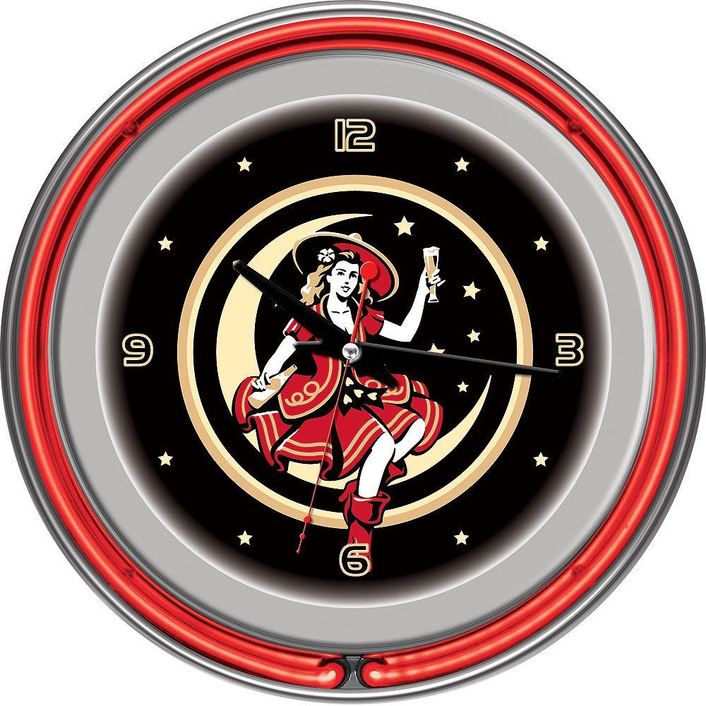 Trademark 14 in. Miller High Life Girl in the Moon Vintage Neon Wall Clock