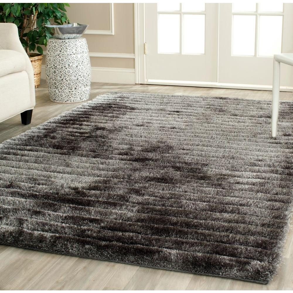 3D Shag Silver 6 ft. x 9 ft. Area Rug